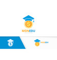 graduate hat and coin logo combination vector image vector image