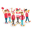 group of happy sport fans supporting their team vector image vector image