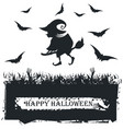 halloween card with witch silhouette on white vector image