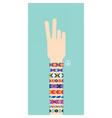 Hand with hippy friendship bracelets Victory sign vector image vector image