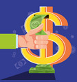 hand with sign of dollar and icons vector image vector image
