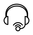 headset microphone voice sound line style icon vector image