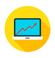 laptop growth graph circle icon vector image