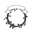 Leaves wreath with ribbon design vector image