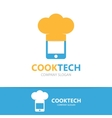 logo combination of a phone and chef hat vector image vector image