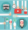 medical online design flat with ambulance vector image vector image