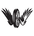 monochrome pattern with wheel wings vector image vector image