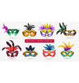 realistic carnival mask transparent icon set vector image