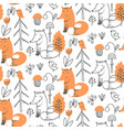 Seamless pattern with cute hand drawn fox