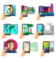 set augmented reality using modern touch vector image vector image