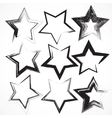 set grunge star brush strokes vector image vector image