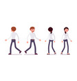 set of male and female clerk walking rear front vector image vector image