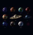 set of polygonal planets vector image