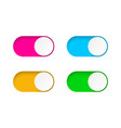 set on and off toggle switch buttonsdesign vector image vector image