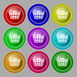 Shopping Cart icon sign symbol on nine round vector image