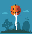skeleton hand with halloween pumpkin at graveyard vector image