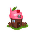 small fancy house in shape of cupcake or ice-cream vector image vector image