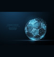 soccer ball low poly wireframe mesh on dark blue vector image vector image