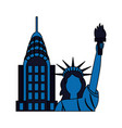 statue of liberty city skyscraper vector image