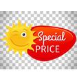 summer sale label smiling sun vector image