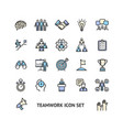 teamwork sign color thin line icon set vector image vector image