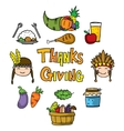 Thanksgiving fruit and vegetable on doodles vector image vector image