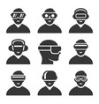 virtual reality vr headset icons set vector image vector image