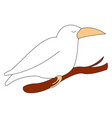 white crow bird on white background vector image vector image