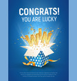 win gold text open textured blue box vector image vector image
