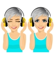 woman enjoying the music with headphones vector image vector image