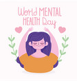world mental health day smiling woman hearts love vector image vector image