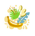 yellow banana on abstract sunny summer background vector image vector image