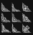 set of decorative white corners vector image