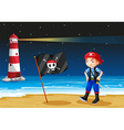 A pirate and the sea parola vector image vector image