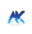 ak a k letter logo design with water effect
