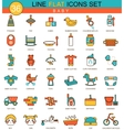 baby flat line icon set Modern elegant vector image vector image
