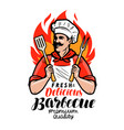 barbecue logo or label cook or happy cook holding vector image vector image