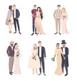 beautiful and fashionable wedding couple bride and vector image vector image