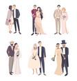 beautiful and fashionable wedding couple bride vector image vector image