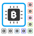 bitcoin chip framed icon vector image vector image