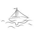 boat on sea drawing on white background vector image vector image