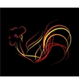 bright fire rooster on a black background vector image vector image