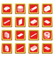 building materials icons set red square vector image vector image