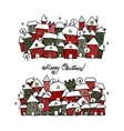 Christmas card with winter city sketch for your vector image