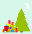 Christmas tree and piles of presents vector image vector image