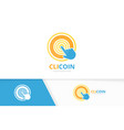 coin and click logo combination money and vector image