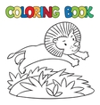 Coloring book of little lion vector image vector image