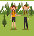 couple scouts in the camping zone scene vector image vector image