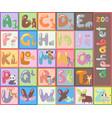 Cute zoo alphabet with cartoon animals isolated