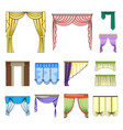 different kinds of curtains cartoon icons in set vector image